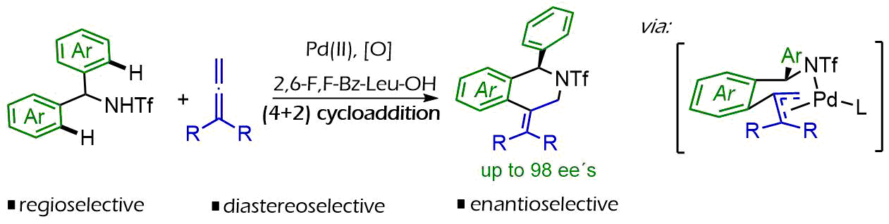 34) Palladium-catalyzed, enantioselective formal cycloaddition between benzyltriflamides and allenes: Straightforward access to enantioen-riched isoquinolines