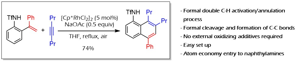 33) Rhodium-catalyzed annulation of ortho-alkenylanilides with alkynes: Formation of unexpected naphthalene adducts